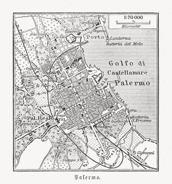 illustrazioni stock, clip art, cartoni animati e icone di tendenza di city map of palermo, sicily, italy, wood engraving, published 1897 - palermo città