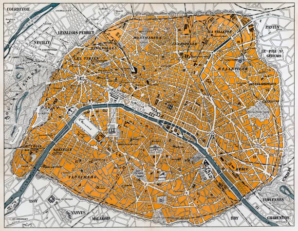 City map of Paris Antique illustration of a City map of Paris, seine river stock illustrations