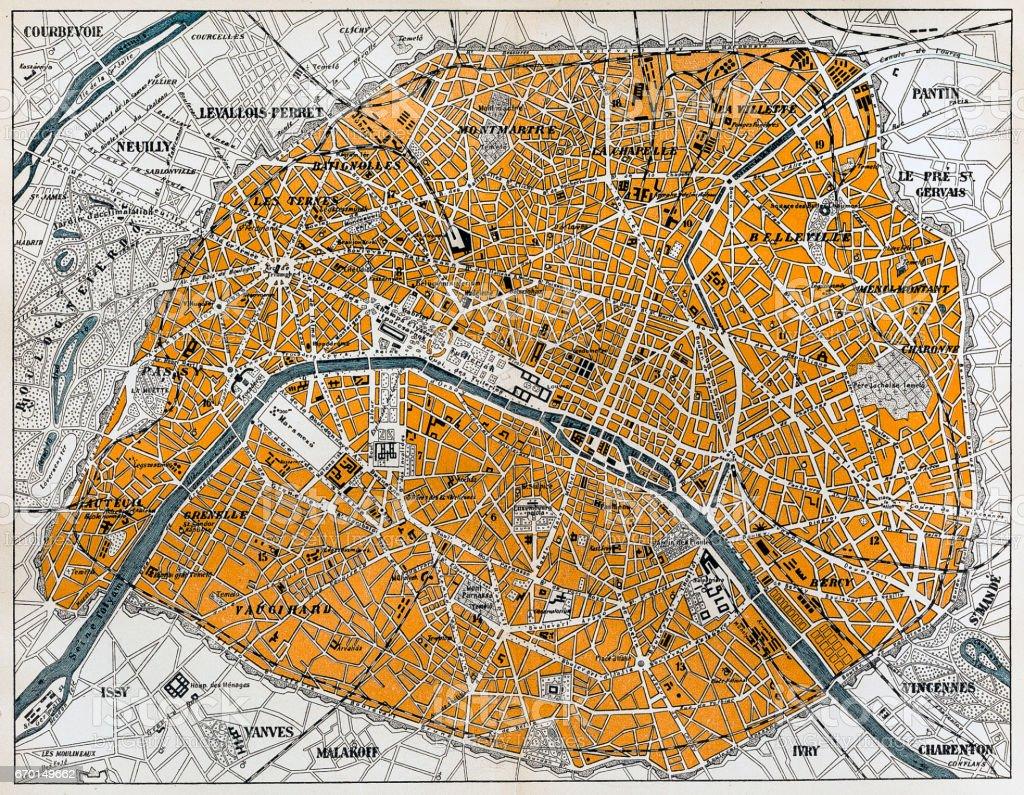City map of Paris vector art illustration