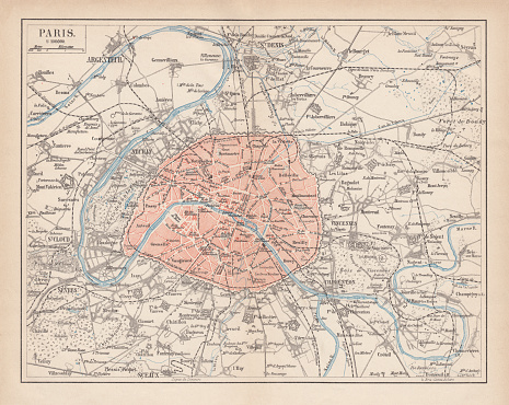 City map of Paris, France. Lithograph, published in 1877.