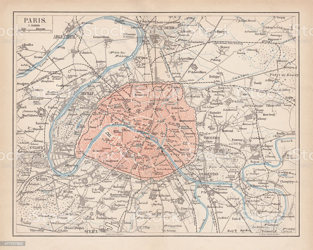 City map of Paris, lithograph, published in 1877 vector art illustration