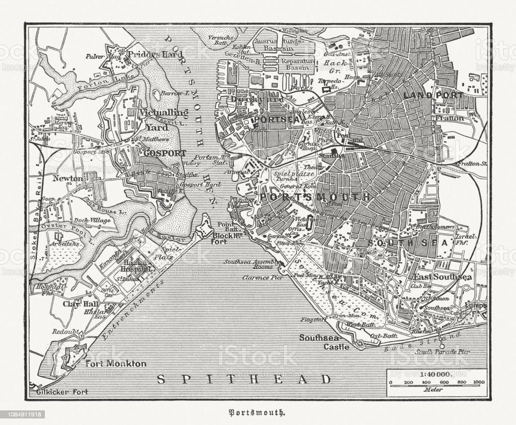 Map Of England Portsmouth.City Map Of Portsmouth Hampshire England Wood Engraving Published