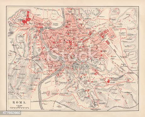 City map of Rome, Italy. Lithograph, published in 1878.