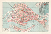 City map of Venice, Italy. Lithograph, published in 1897.