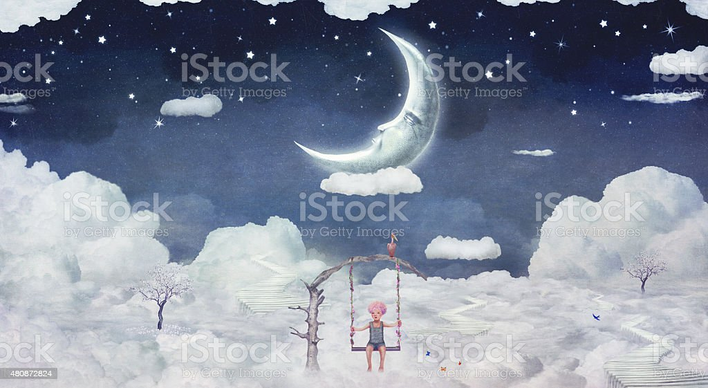 City of children on the fantastic clouds in the sky vector art illustration
