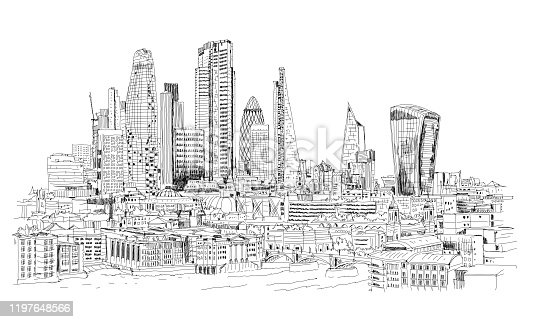 City of London business area view at 2020. Financial district and Thames river.