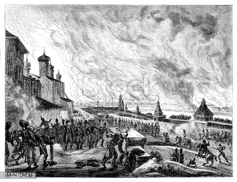 Steel engraving City of Moscow burning 15-17 September 1812 Original edition from my own archives Source :