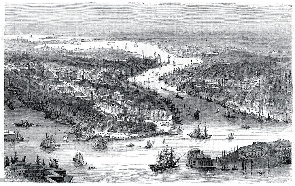 City of New York in 1860 vector art illustration