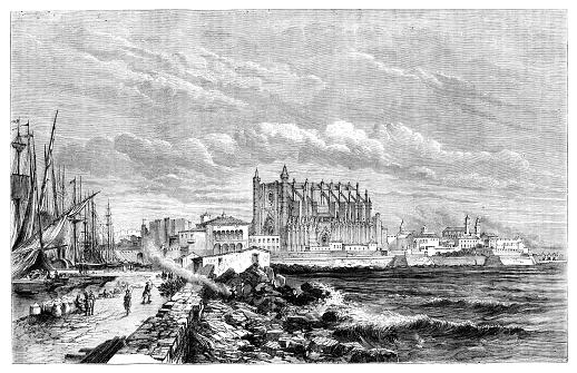 City of Palma de Mallorca with castle 1867