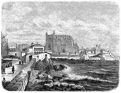 City of Palma de Mallorca with castle 1882