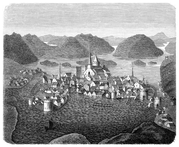 bildbanksillustrationer, clip art samt tecknat material och ikoner med stockholms stad i 1400-talet illustration - stockholm overview