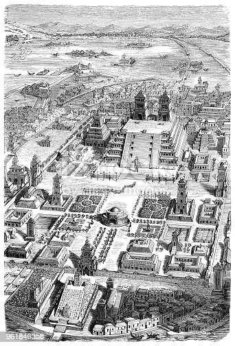 City of Tenochtitlan with the temple Teocalli in the lake Texcoco Original edition from my own archives Source : Illustrierte Geschichte 1882