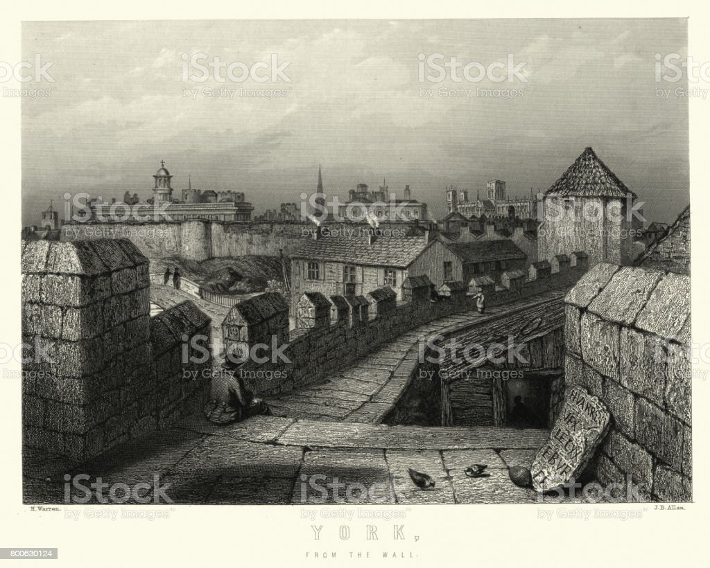 City of York from the Medieval Walls, 19th Century vector art illustration
