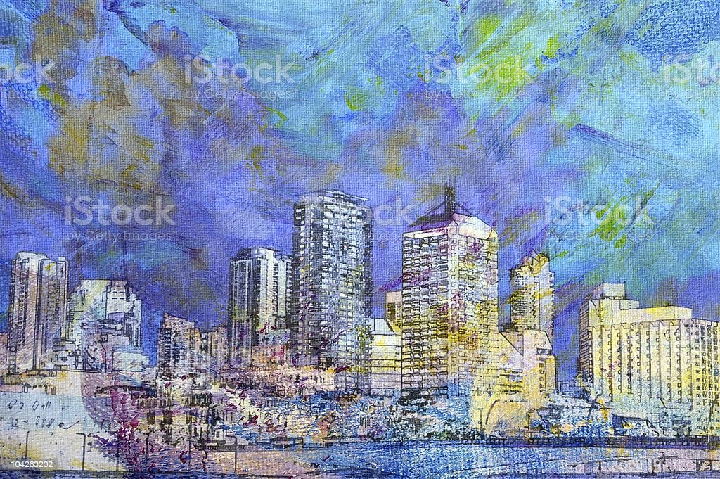 city paintings vector art illustration