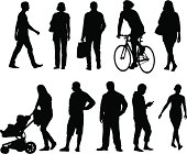 Ten silhouettes of casual people in every day life.