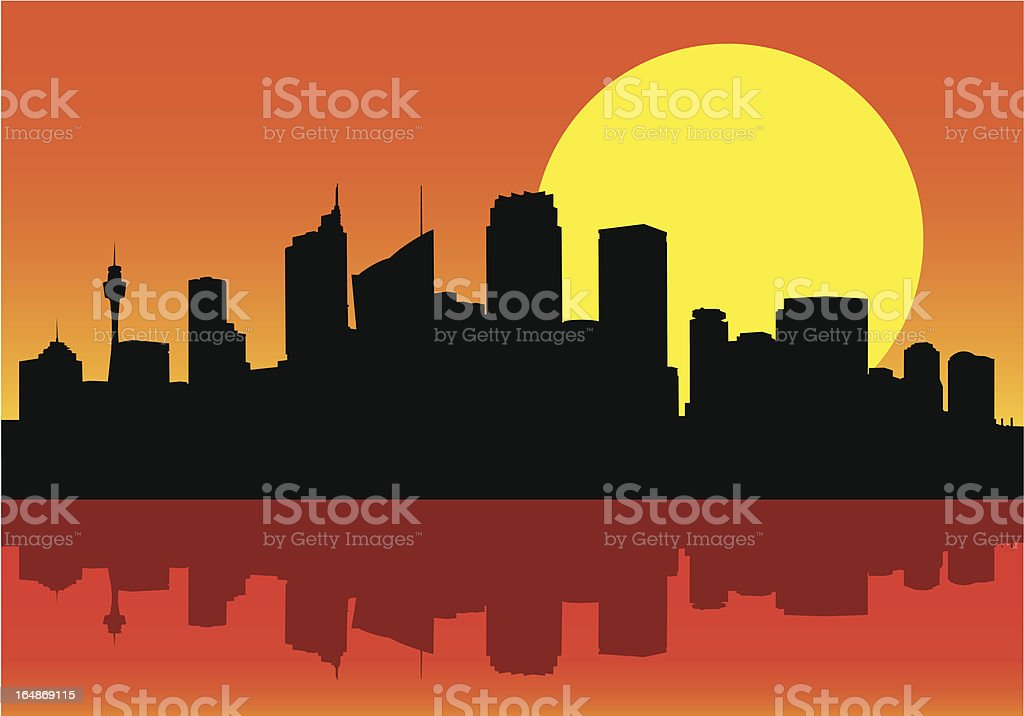 City Skyline at Dawn (Vector) royalty-free city skyline at dawn stock vector art & more images of architecture