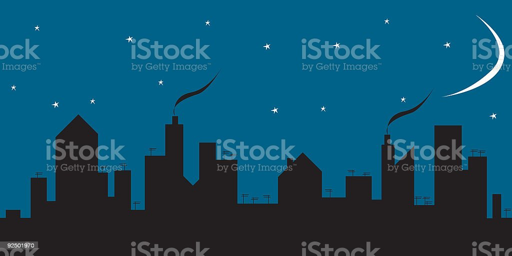 City skyline night royalty-free stock vector art