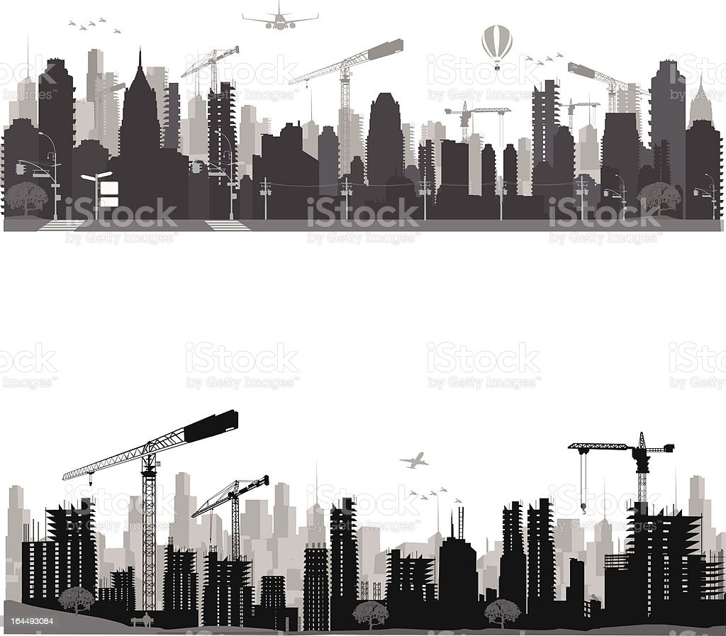 City skyline.Construction vector art illustration