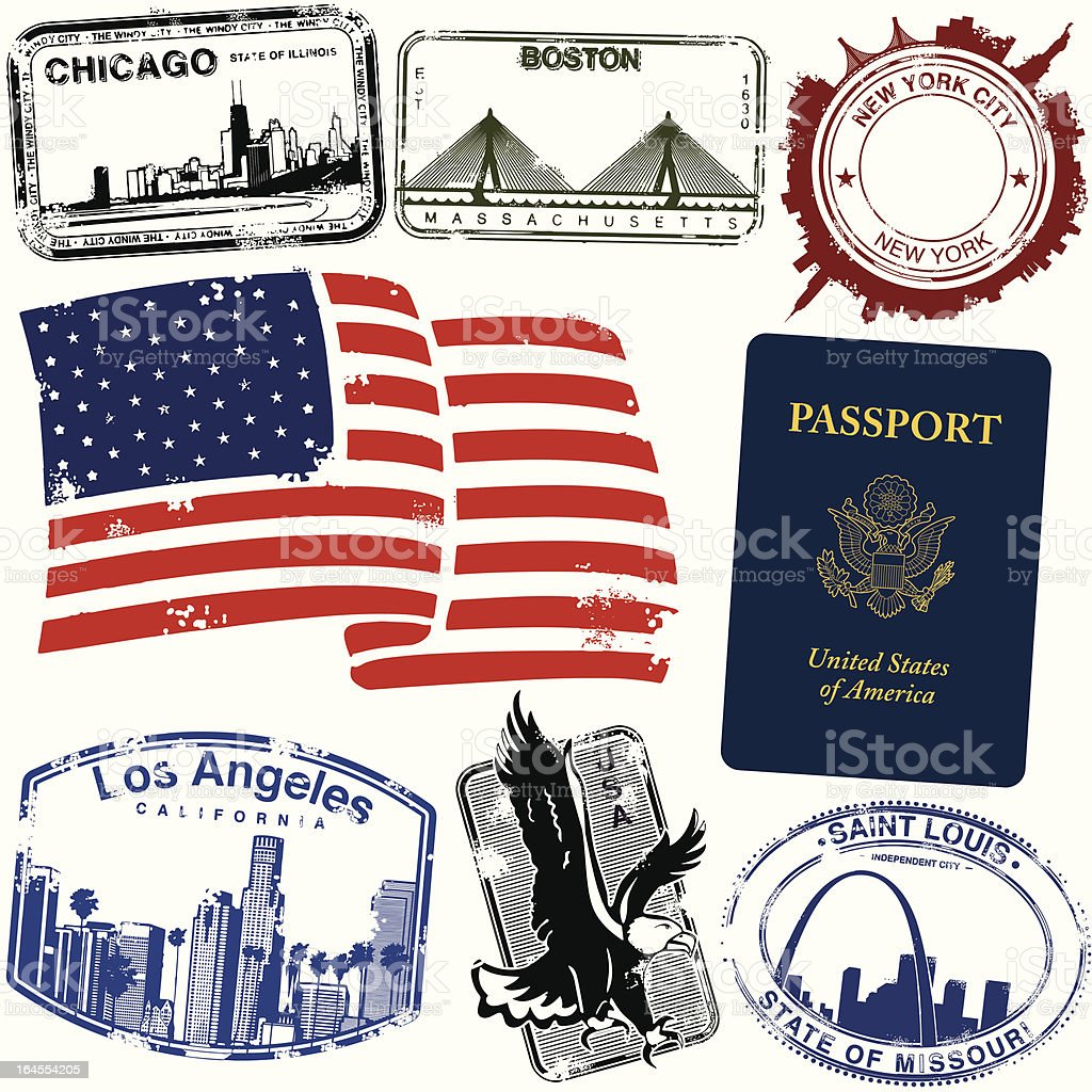 US City Stamps royalty-free stock vector art