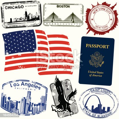 Series of stylized American vintage/retro city stamps