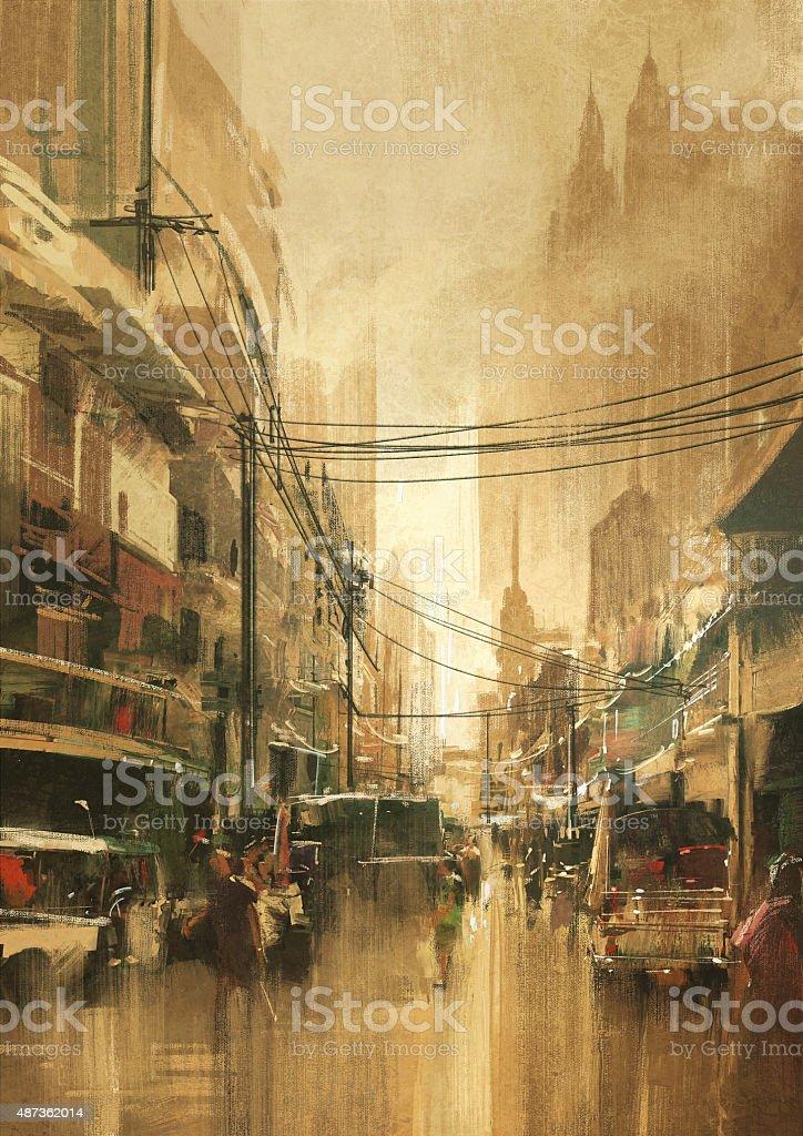 city street view in vintage retro style vector art illustration