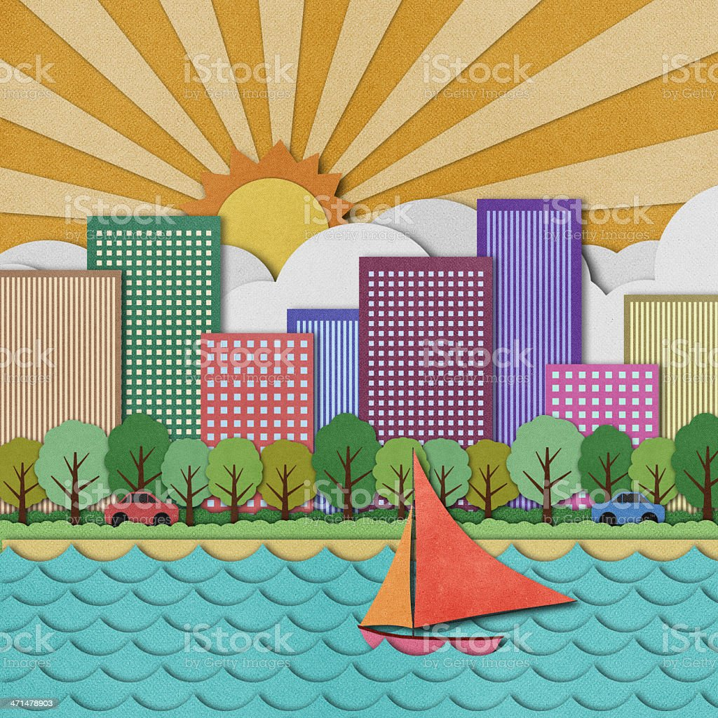 City view recycled paper craft Background royalty-free stock vector art