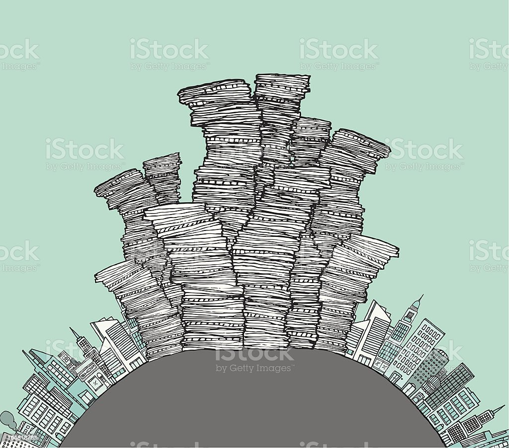 City waste / Garbage skyline royalty-free city waste garbage skyline stock vector art & more images of built structure