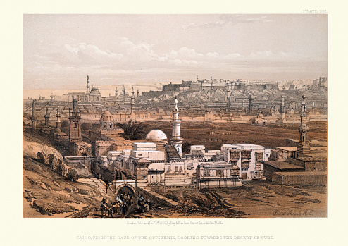 Vintage illustration of Cairo from the gate of citizenib, looking towards the desert of Suez, by David Roberts, 19th Century