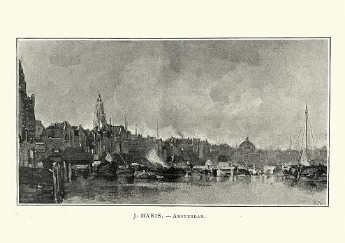 Cityscape of Amsterdam, 19th Century