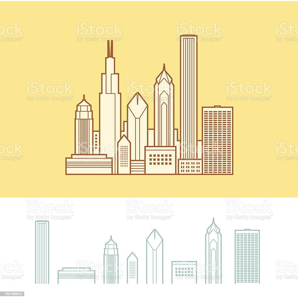 Cityscape of Chicago, Illinois, USA royalty-free stock vector art