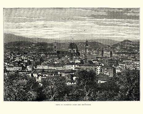 Cityscape of Florence, Italy, 19th Century