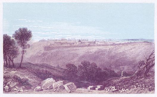 Cityscape of Jerusalem, Israel - Ottoman Empire 19th Century