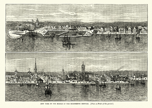 Vintage engraving of a Cityscape of Nerw York in the mid 18th Century