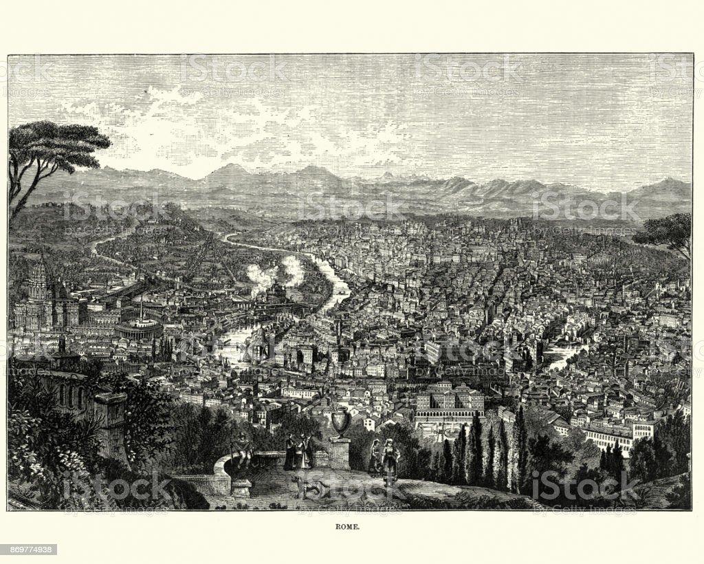 Vista da cidade de Roma, Itália, século XIX - ilustração de arte em vetor