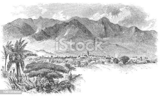 High angle cityscape of San José the capital city of Costa Rica (circa mid 19th century). Vintage etching circa mid 19th century.