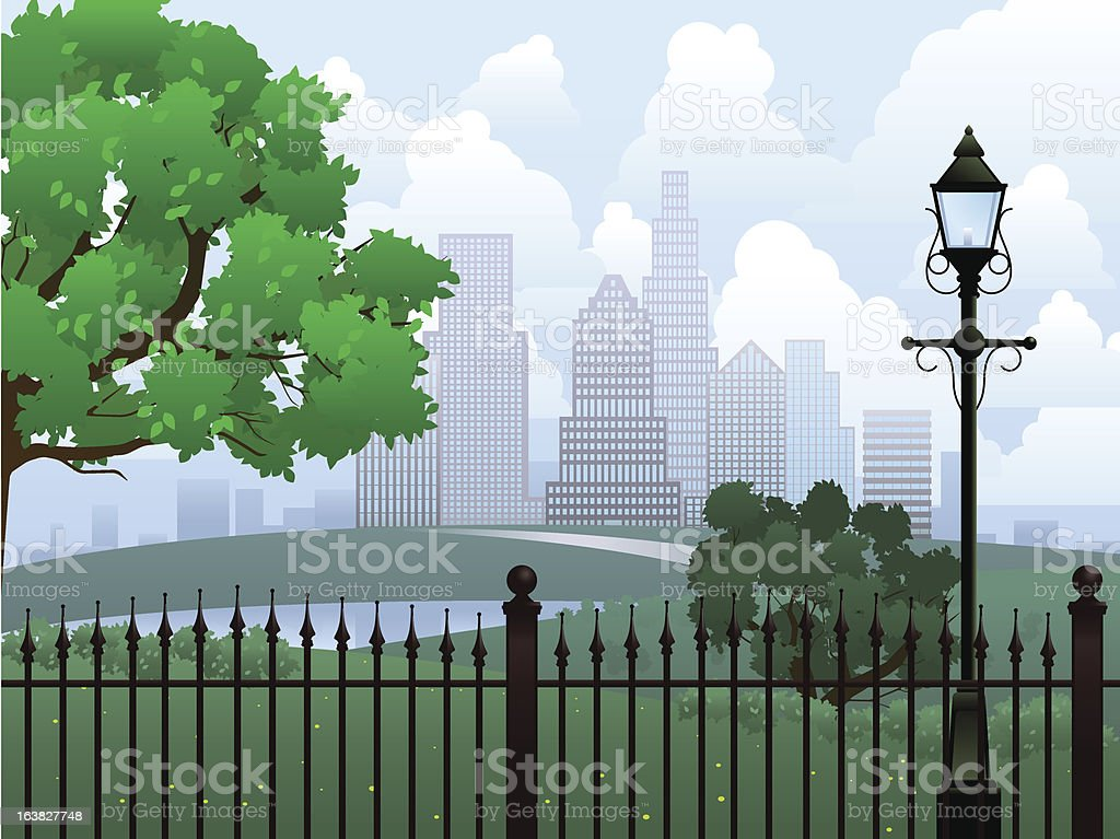 Cityscape summer park royalty-free stock vector art