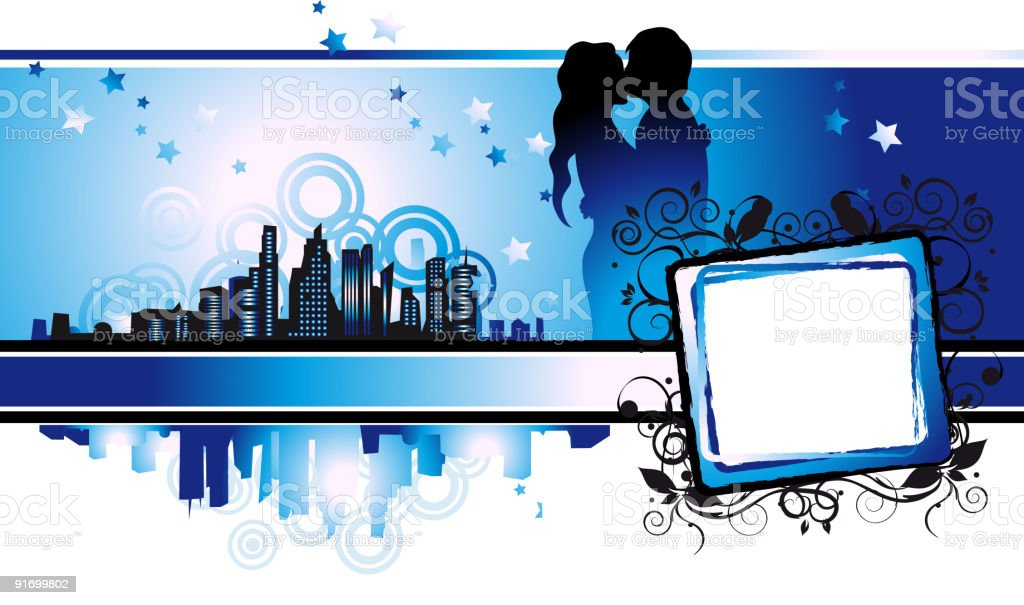Cityscape, urban frame, couple kissed, valentine royalty-free stock vector art