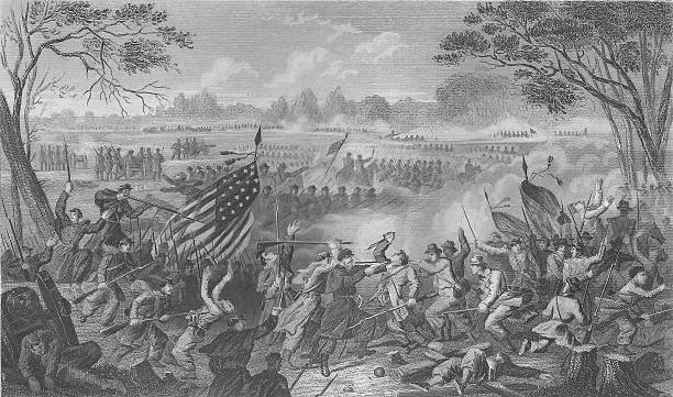 Civil War Engraving Newbern - 1863 19th Century This is an engraving drawn by William Momberger and engraved by J.C. McRae.  The date was 1863 and it was engraved expressly for Abbott's Civil War.  Photo is 600dpi by Michael Poe. war effort stock illustrations
