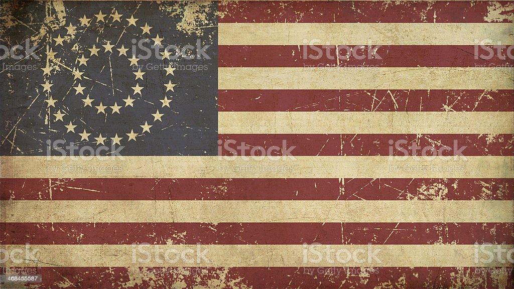 US Civil War Union Aged Flag (37 Star Medalion) vector art illustration