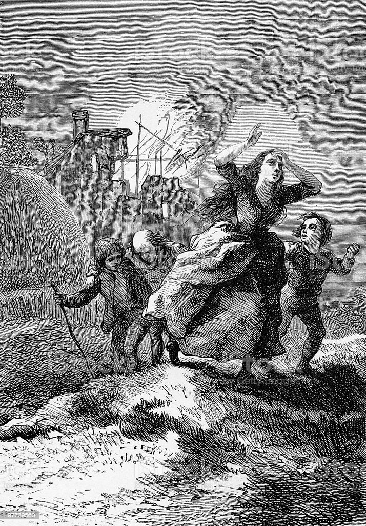 Civilians Flee the Battle of Blenheim, 1704 royalty-free stock vector art