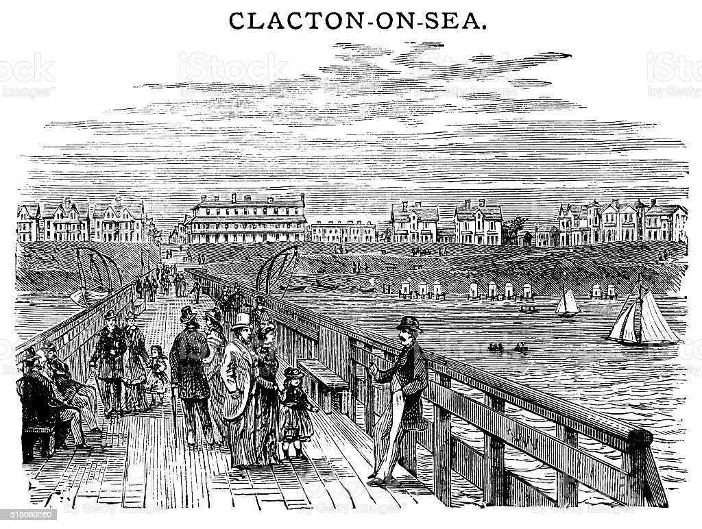 Clacton-on-Sea - Victorian engraving vector art illustration