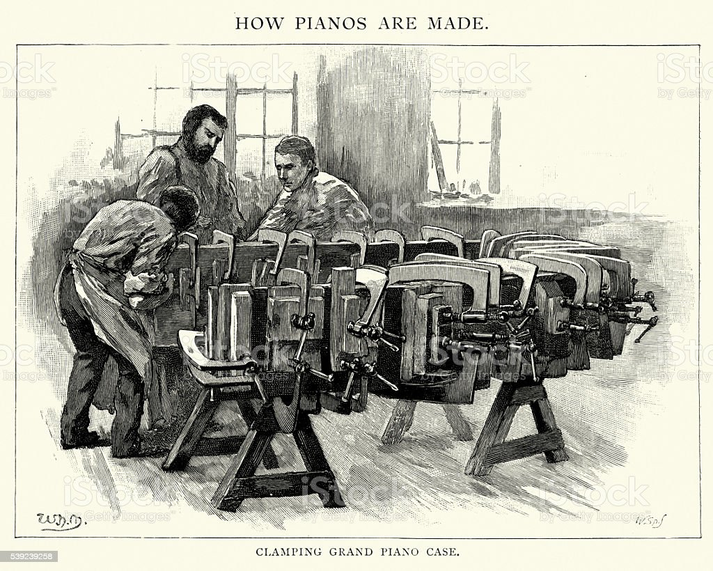 Clamping Grand Piano Case, 1892 royalty-free clamping grand piano case 1892 stock vector art & more images of 1890-1899