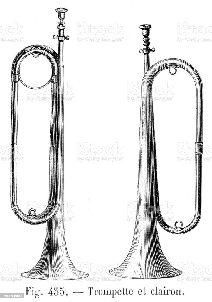Clarion trumpet engraving 1881 vector art illustration