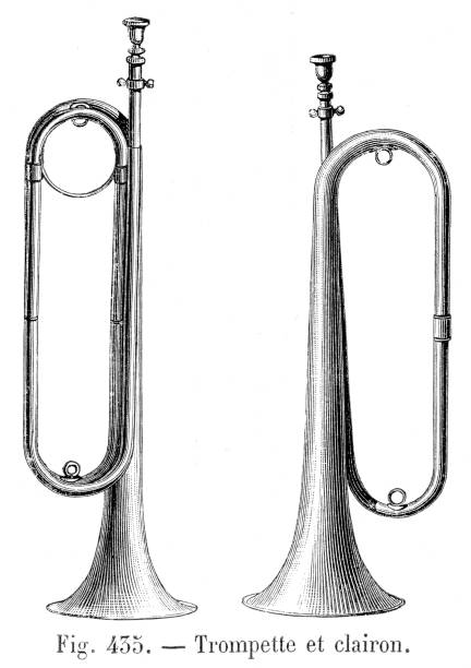 Clarion trumpet engraving 1881 vector art illustration
