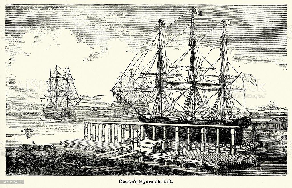 Clark's Hydraulic Lift, Victoria Docks, London vector art illustration