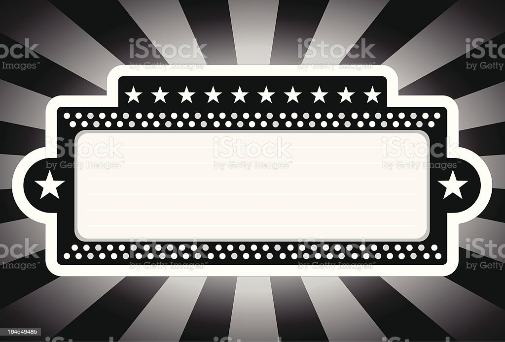 Classic Black and White Theater Marquee vector art illustration