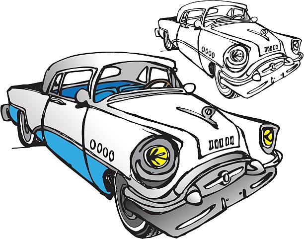 Classic Car - 50s 2-Tone Buick vector art illustration