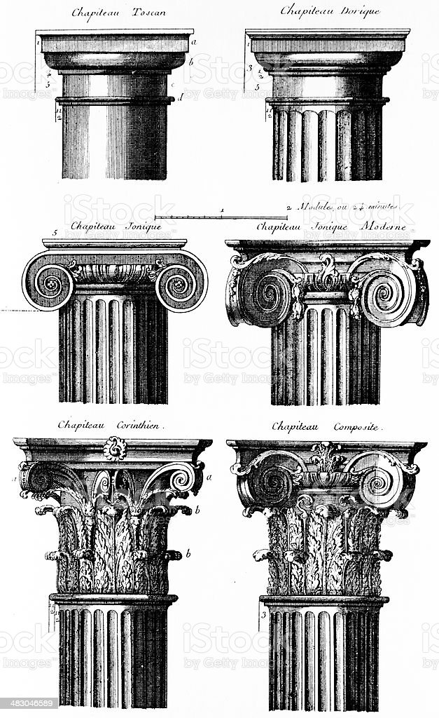 Classic columns ,antique illustration vector art illustration