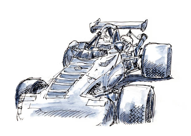 Classic Formula Racecar 1969 Ink Drawing and Watercolor Classic Formula Racecar 1969. Fountain Pen Ink Drawing and Watercolor Pencils. Drawn on location. motor sport stock illustrations