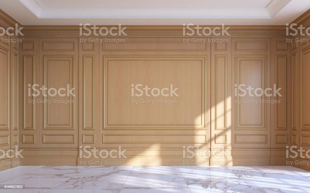 Een Klassiek Interieur : Een klassiek interieur met houten lambrisering 3drendering
